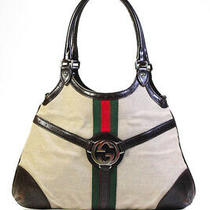 Gucci Leather Web Trim Monogram Tote Bag Brown Green Red Photo