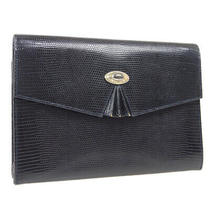 Gucci Logos Clutch Hand Bag 004.110.0239 Purse Navy Embossed Leather Ak38152h Photo