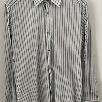 Gucci Made in Italy Men's White Pinstripe Dress Shirt Sz 38/15 Photo