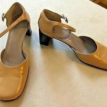Gucci Mary Jane Pumps Heels Tan/camel Leather Logo 9 Photo