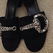 Gucci Maxime Crystal Covered Black Suede Leather Horsebit Sandals Shoes 9us 39.5 Photo