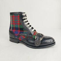 Gucci Men's Black Leather Red Green Checkered Wool Boots 7/us 7.5 483956 1046 Photo