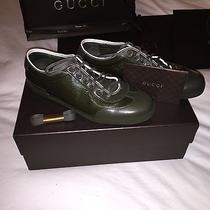 Gucci Men's Military Gg Imprimee Green Lace-Up Sneakers Size 10.5 Us Photo