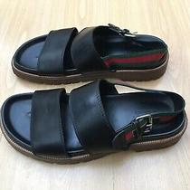 Gucci Mens Shoes Black Sandals Thongs Leather Uk 10 44 Green Red Web Slingback Photo