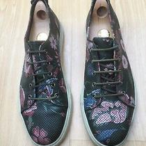 Gucci Mens Shoes Green Leather Floral Trainers Sneakers Uk 10 44 Photo