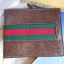 Gucci Mens Wallet Firenze Vintage 1970's Red & Green Brown Leather Bifold Mib Photo