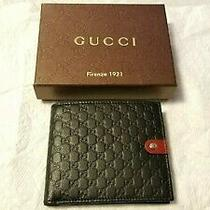 Gucci Micro Guccissima Gg Black Leather Bi-Fold Wallet Rare Green/red/pouch- Box Photo
