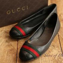Gucci Monogram Black Leather Shoes Flats Pumps Uk 5 Us 7 Eu 38 Photo