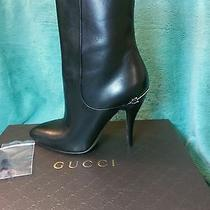 Gucci Napa Charlotte Ankle Boots Black Leather New Size 8 Photo