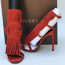 Gucci New Sz 37 - 7 Womens Designer Suede Red Gladiator Heels Shoes Sandals Photo