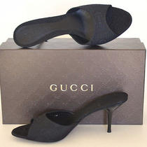 Gucci New Sz 38.5 8.5 Designer Horsebit Womens Black Mules Slides Sandals Shoes Photo