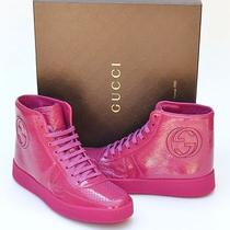 Gucci New Sz 41 G Us 11.5 Designer Womens Gg Shoes Boots Pink High Top Sneakers  Photo