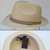 Gucci New Sz S Womens Sun Summer Straw Designer Fedora Trilby Hat Authentic Photo