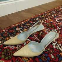 Gucci Nude Slingback Kitten Heels Pointed Toe Genuine Leather Size 7 1/2 B Photo