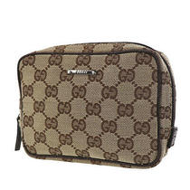 Gucci Original Gg Pouch Bag Brown Canvas Italy Vintage Authentic Ac644 O Photo