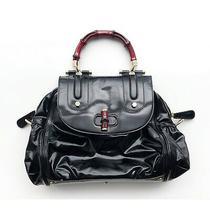Gucci Patent Leather Bamboo Bag Top Handle Bag Red & Black Euc -Read Description Photo