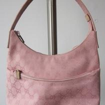 Gucci Pink Monogram Canvas/leather Hobo Handbag- Excellent Condition Photo