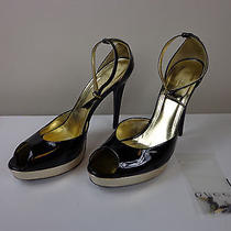 Gucci Platform Heels Black Lacquered Leather Italy Size 9.5 Photo