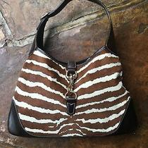 Gucci Pony Hair Zebra Print Medium Jackie O Bouvier Hobo Brown Photo