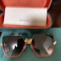 Gucci Red-Green Square Rectangular Sunglasses Photo