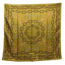 Gucci Scarf Camel X Yellow Black Brown Silk 100 Women Second Hand Classic Photo