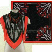 Gucci Shawl Net Print Silk Scarf Black & Red Square 595 55