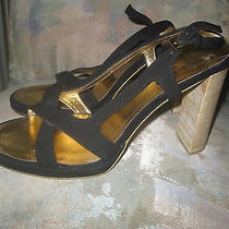 Gucci Shoes Blackgold  Wood Heel Sandals Sz 8b Leather Suedeslingbacks Photo