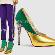 Gucci Shoes Peachy Pumps Gold Leather Green Suede Python Crystal 1150 38.5 8.5 Photo