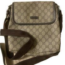Gucci Shoulder Bag Gg Supreme Pvc Canvas Leather Women Beige Brown Photo