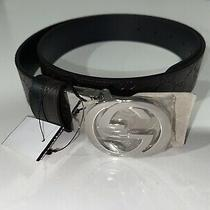 Gucci Signature Gg Interlocking Chocolate/black Leather Belt Size 38/95 Photo