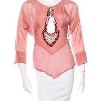 Gucci Silk Tassel Plunge Pink Blush Top Flora Xs/s Photo