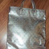 Gucci Silver Leather Gg Imprama Computer Bag Photo