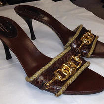 Gucci Snakeskin Leather Sandals Brown Gold Pumps Size 9 Photo