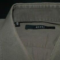 Gucci Solid Slate Tan Slimmer Fit Designer Dress Shirt Size 16 Photo