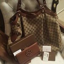 Gucci Sukey Large Brown Leather Canvas Shoulder Bag Dust Bag  Free Gucci Wallet Photo