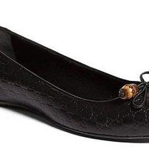 Gucci Sylvie Bamboo Bow Black Leather Ballet Flats Size 39 Diamond Gg Logo 450 Photo