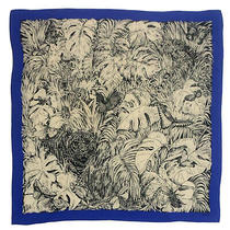 Gucci Tigers Butterflies Blue Large Silk Scarf 35 Inches Photo