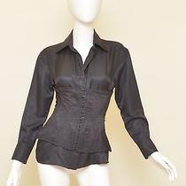 Gucci Tom Ford Black 100% Silk Button Front Corset Bodice Top Blouse 38 Us 4 Photo