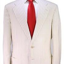 Gucci Tom Ford Era Beige Striped Cotton-Silk Patch Pocket 2-Btn Suit 44r 44l Photo