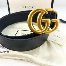 Gucci Unisex Belt Gg Gold Buckle Black Leather 414516 Apoot 1000  Size 38