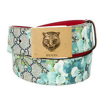Gucci Unisex Gg Supreme Canvas Blue Bloom Belt Gold Tiger Buckle New Ori550 Photo