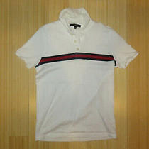 Gucci Unisex Short Sleeve Polo 3 Button Collared Size Xs White Stretch Cotton Photo
