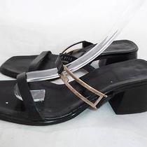 Gucci Used 5.5 Italy Black Leather Strappy Heels/pumps/shoes/slides/sandals Photo