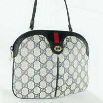 Gucci Vintage Accessory Collection Sherry Gg Canvas Shoulder Bag Black Navy Junk Photo