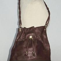 Gucci Vintage Brown Leather Shoulder Bag / Purse W Gucci Trim  Photo