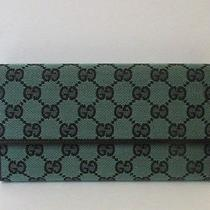 Gucci Wallet Flap Light Green Monogram Canvas Continental Black Leather Trifold Photo