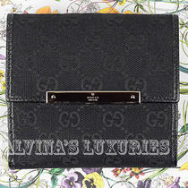 Gucci Wallet French Black Guccissima Gg Fabric Logo Plate Leather Nib Authentic Photo