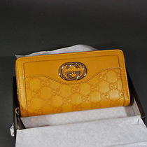 Gucci Wallet Sukey Monogram Leather Zip Around Wallet Guccissima Gold Gg Nwt Photo