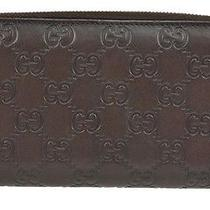 Gucci Wallet Zip Around Monogram Black Leather Guccissima Clutch  Photo