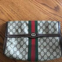 Gucci Web Sherry Line Clutch Bag Gg Pvc Leather Brown Authentic Vintage Photo